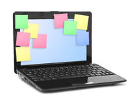 Sticky Note Papers on Notebook computer Screen