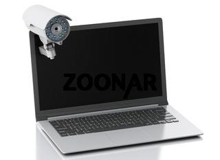 3d Laptop with surveillance camera. Privacy concept.