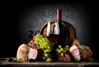 Wine and food on black