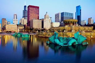 Chicago skyline reflected in Buckingham Fountain