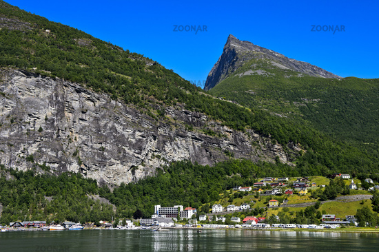 Geiranger in the UNESCO World Natural Heritage Site Geirangerfjod, Norway