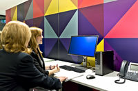Business women in a computer room looking at a monitor