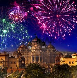 Festive firework over temple Akshardham