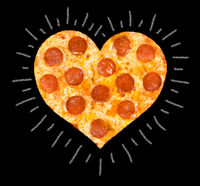 pizza with peperoni of heart shape