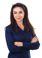 Young business woman with crossed arms, isolated over white