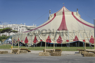 Circus tent in front of the grand hotel