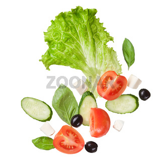 salad isolated in white, top view