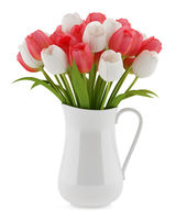 tulips in jug isolated on white background