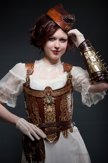 Young woman wearing a designer Steampunk Costume
