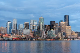 Panoramic view of Seattle Downtown and Space Needle from Puget Sound