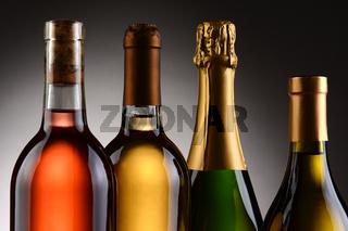 Four Wine Bottles Backlit