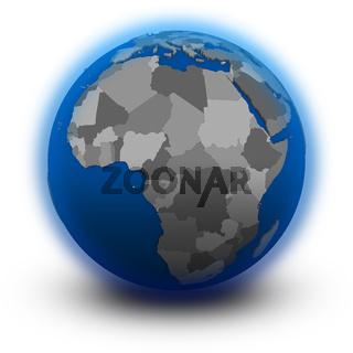 Africa on political globe