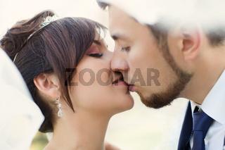 Stylish newlyweds on their wedding day