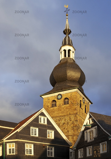 historic old town and Protestant church of Lennep, Remscheid, North-Rhine Westphalia, Germany