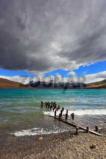 Storm clouds and waves at the Laguna Azul.