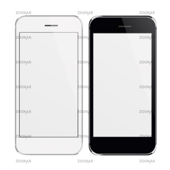 Realistic mobile phones with blank screen.