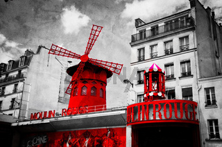 The Moulin Rouge vintage retro depiction in black and white with red elements