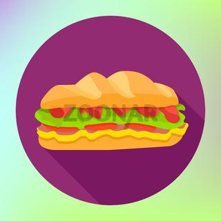 Sandwich flat fast food icon