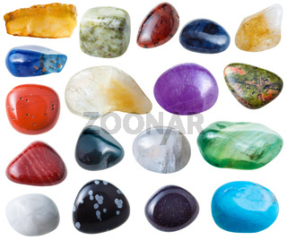 set from 18 pcs various gemstones isolated
