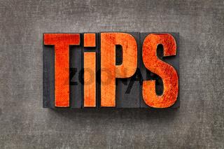 tips word in letterpress wood type