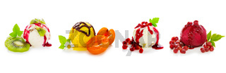 Various fruits ice isolated .