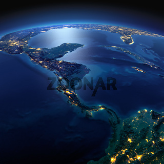 Detailed Earth. The countries of Central America on a moonlit night