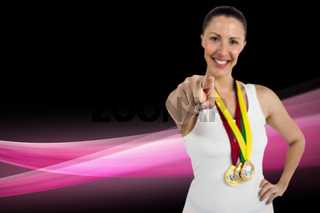 Composite image of female athlete posing with gold medals around his neck