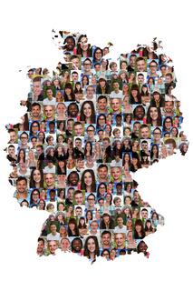 Deutschland Karte Menschen junge Leute Gruppe Integration multikulturell Vielfalt