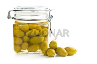 pickled green olives in jar