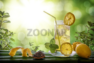 Refreshing drink with mint and lemon in nature