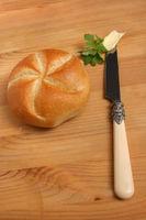 Bun, Bakery, Bun with Butter, Wooden Table, Snack