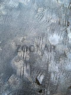 car tire imprints into wet asphalt