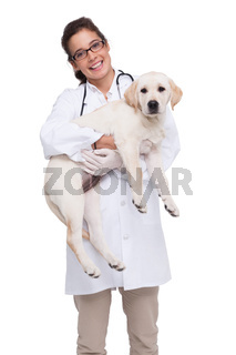 Smiling veterinarian with a cute dog in her arms