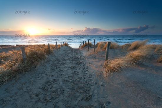 sunset over North sea beach