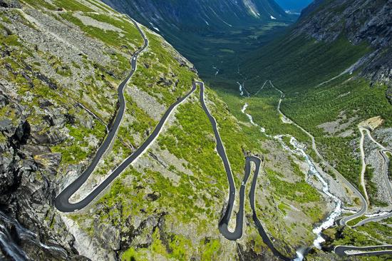 serpentines of the Trollstigen mountain road, Norway