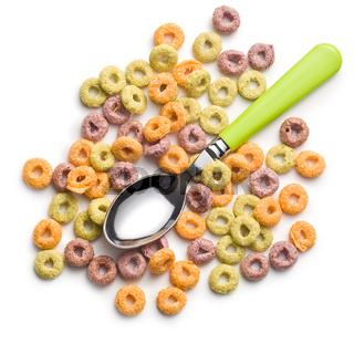 colorful cereal rings and spoon