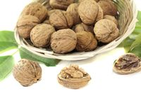 fresh walnuts with walnut leaves in a basket