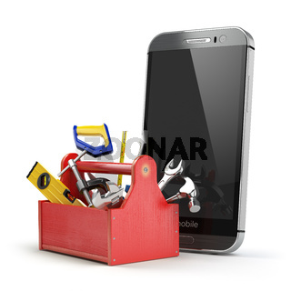Mobile phone service concept. Online support. Smartphone  with toolbox and tools on white isolated background.