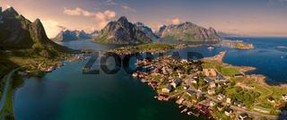 Aerial Lofoten panorama