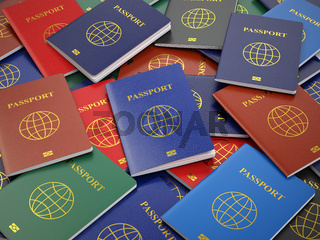 Passports, different types. Travel turism or customs concept background.