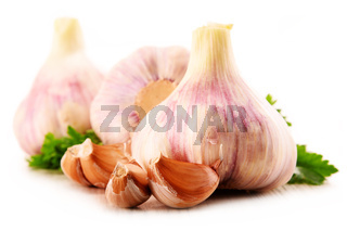 Composition with bulbs of garlic isolated on white background