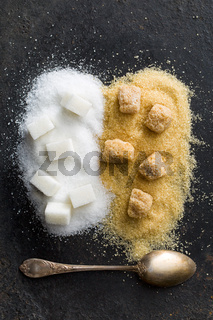 unrefined cane and white sugar