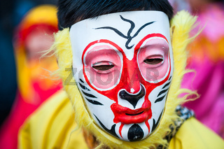 Chinese new year  - Monkey mask - parade in Paris