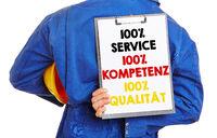 Deutscher Arbeiter wirbt mit Service