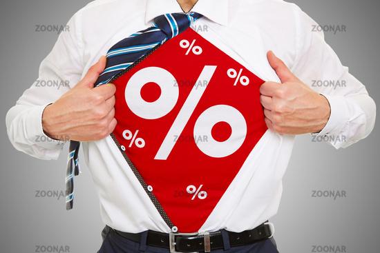Rabatt und Angebot mit Prozenten