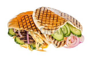 fast food meat with vegetables in pita