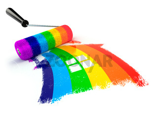 Construcrion concept.Roller brush with sign of house in rainbow colors.