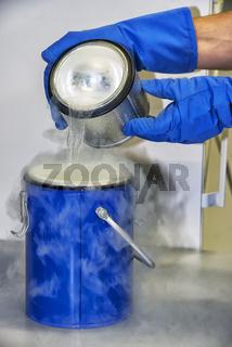 person with liquid nitrogen