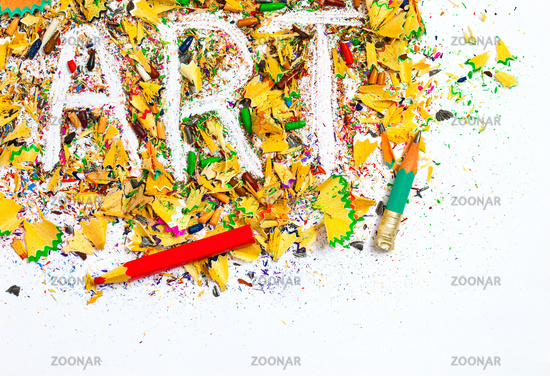 art background from colored shavings