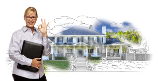 Woman with Okay Sign Over House Drawing and Photo